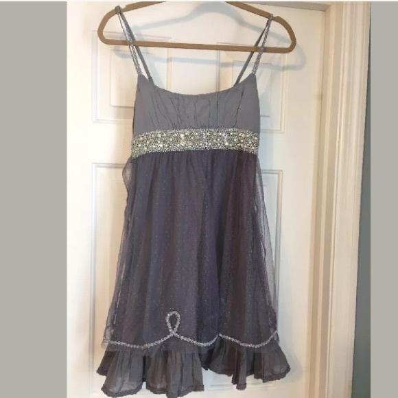 2b4514ab68f5 Free People Dresses & Skirts - Free People beaded boho gypsy dress Sz 2 Grey